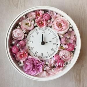 プリザーブドフラワー花時計教室ピンク