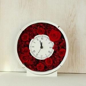 プリザーブドフラワー花時計教室赤バラ