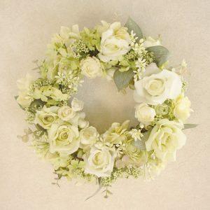 フラワーリース黄色と白のバラ